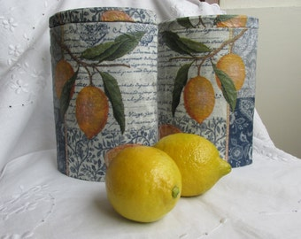 Tins - Decoupage - Lemons - Yellow and Blue - Set of 2