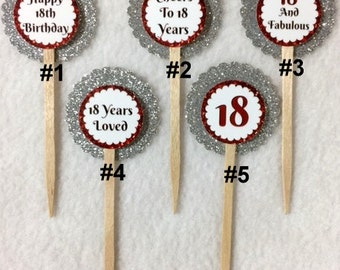 Set Of 12 Personalized 18th Birthday Party Cupcake Toppers (Your Choice Of Any 12)
