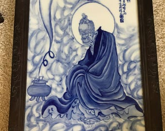 Large Chinese Blue and White porcelain plaque