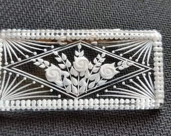 Vintage French Reverse Carved Lucite White Flower Bouquet Brooch Pin 1930s 1940s