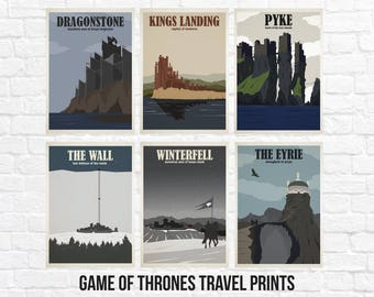 Game of Thrones Travel Poster Sets - Kings Landing - Winterfell - The Wall - The Eyrie - Dragonstone - Pyke (Available In Many Sizes)