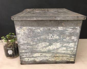 Metal Bin - Vintage Large Metal Bin with Hinged Lid - Mudroom Storage - Galvanized Container - Square Bin - Primitive Tin - Oversized Tin