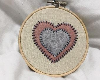 Felt Love Heart Embroidery Hoop Art