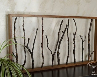 """Wall sculpture, wall decoration, decoration with tree branches, reclaimed wood, rustic decoration, recycled wood. """"The forest"""""""