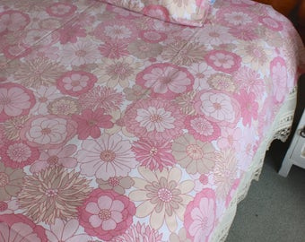 Vintage 60s 70s St. Michael's flower power psychedelic flat bed sheet