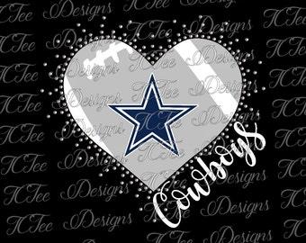 Cowboys Heart - Love My Cowboys - Mixed Media - Rhinestone Template - Football SVG File - Vector Design Download - Cut File