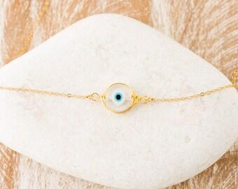 Evil Eye Necklace/Clear Evil Eye Necklace/Glass Evil Eye Necklace/Protection Jewellery/Evil Eye Jewellery/Gold Evil Eye Necklace