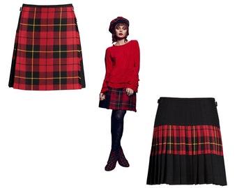 Wallace Tartan SKIRLT  fusion of Kilt and Skirt - mod kilt - mod skirt