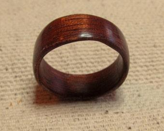 Wood Wedding Band, Exotic Sapele Wood Bentwood Ring, Wood Promise Ring, Wood Ring