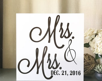 Mrs. & Mrs. Hanging Decor, Lesbian wedding gift. Lgbt decor, hanging family established decor, anniversary gift. Handmade