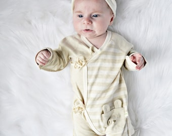 Baby Romper, Organic Baby Romper,, Playsuit, Newborn Romper, Kimono Romper, Super Soft, Natural Cotton Bodysuit, One Piece, Onesie