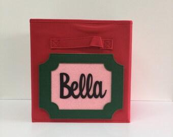 Personalized Storage Bin, Personalized Baby Decor, Personalized Baby Girl Decor, Personalized Nursery, Fabric Bin, Baby Girl Decor, Toy Bin