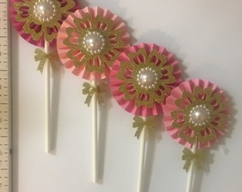 12 pink and gold and pearl double sided rosette cupcake topper