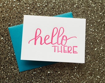 Hello There Letterpress Folded Note Card