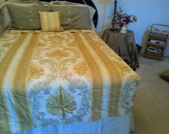 9 pcs . California King size/Reversible/Linen Bedding Set/Panels with valance/Gift/Home Decor/