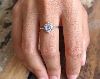 Silver ring | moonstone ring | small ring