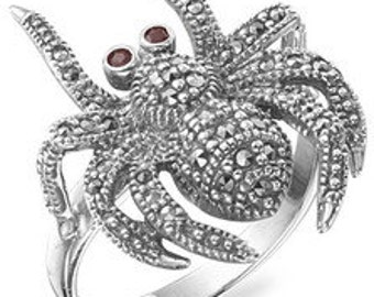 Spider Ring Silver Marcasite
