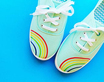 Rainbow shoes, lace ups, mint, colorful, coral, teen girl, cute, ballet flats, slip on shoes