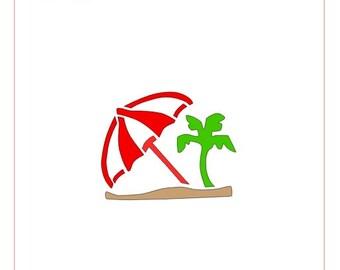 Tropical Island and Umbrella Stencil