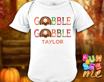 Gobble Gobble - Thanksgiving - Personalized with Name Bodysuit - Boys / Girls / New Baby / Shower Gift
