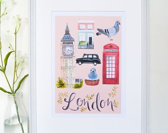 Illustrated London City Print // London art print // Pink
