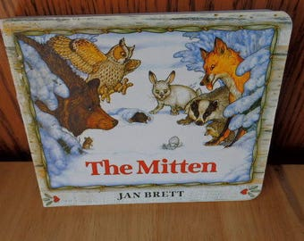 The Mitten Written by Jan Brett Hard Cover Copy 1989 Childrens Book Ukrainian Inspired Book Bedtime Reading Home Schooling