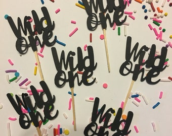 Wild One Cupcake Topper, Baby Shower, Wild One Birthday, Tribal Baby Shower,  Wild One Cupcake toppers, set of 12