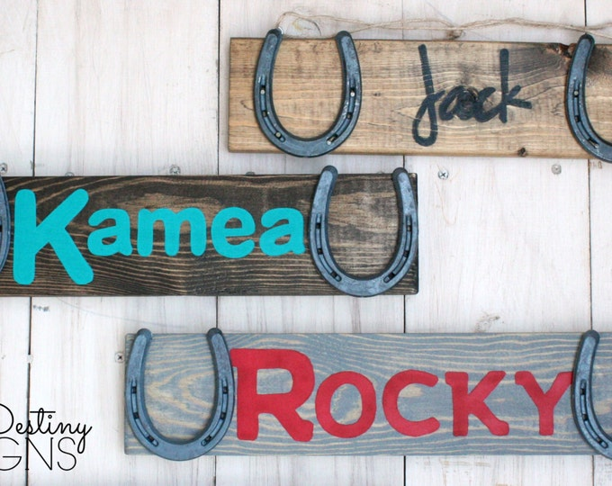 Three Custom Personalized Barn Signs - Design Your Own Personalized Horse Name Sign - Stable sign, rustic horse decor, horseshoe, TDD22-3