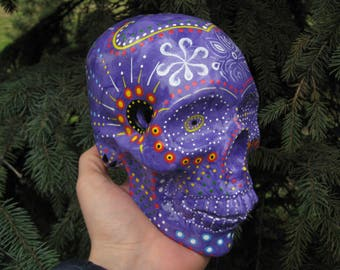 Sugar Skull Day of the Dead Handmade Purple Sugar Skulls Ceramic Violet Skull Mexican Skull Decoration