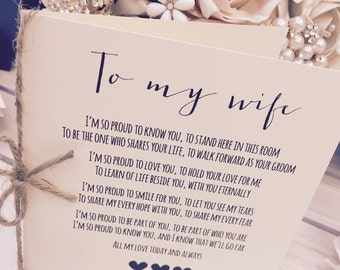 Vintage/Rustic 'To My Wife' Wedding Day Poem Card-show her how special she is!