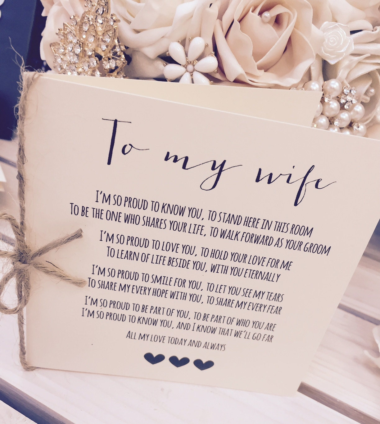 Vintage/Rustic To My Wife Wedding Day Poem Card-show