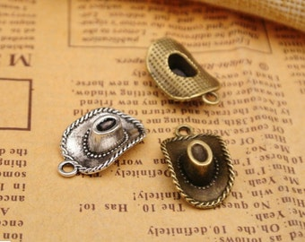 lead and nickel free--- 100pcs 13x22mm antiqued bronze/silver Cowboy hat zinc alloy charms findings
