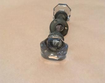 vintage glass door knob set