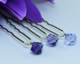 Priced singly purple Swarovski crystal hairpins or bobby-pins.Add colour and sparkle to your Wedding or any Special Occasion hairstyle.