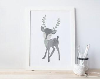 deer, nursery art print,  Giclee Art Print, woodland, archival art print