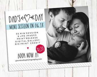 Father's Day Mini Session Template - Photography Marketing Board - Photoshop Template for photographers - C012 - Instant Download