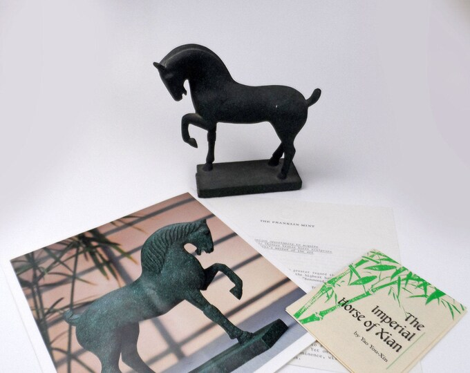 Featured listing image: Vintage The Franklin Mint Bronze Statue The Imperial Horse of Xian with Documents