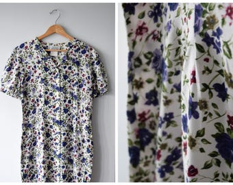 80s knee-length floral button up dress, size M/L