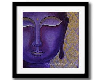 Buddha print - Purple and gold art - chakra art - Purple Buddha  -  Meditation art - Spiritual art - Feng shui decor - Zen art - Yoga studio
