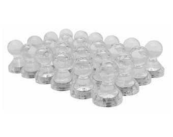 24 Pack - Translucent Neodymium Small Magnetic Push Pins Fridge Magnets (Clear) - Push Pin Magnets - Refrigerator Magnets