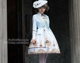 Exclusive Vintage Designer Original Print Rococo Robe Inspired Elegant Gothic Rococo False Vest Lady JSK/OP Dress