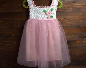 White Crochet Tutu for Baby Girl's, Christening baby girl dress, Handmade beautiful tutu dress, pink