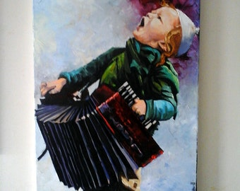 Oil On Canvas/Large Painting/Jewish Art/Children/Musical Instrument/Oil Painting/Made to order 50x 90 cm/Gadi dadon Israeli Artist