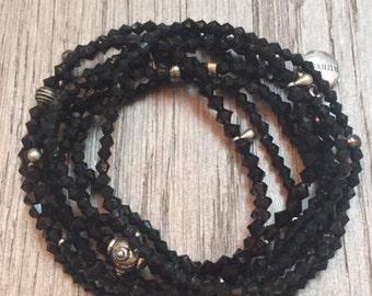 8 strands black stacking stretch bracelets
