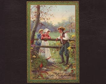 Garden work, edwardian German postcard - Couple, farmer, chromo lithograph print, vintage greeting card - 1906 (V5-45)