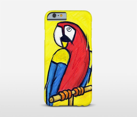 Illustration Art, Parrot Phone Case, iPhone Plus Cases, Galaxy Cases, HTC Phones, Xperia Case, Yellow Cell Phone