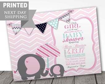 PRINTED baby shower invitations, FREE shipping, party invitations, baby announcement, baby shower party, FAST shipping, envelopes included
