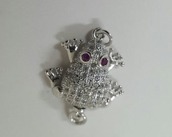 Sterling Silver and Rhinestone Frog Clasp 19mm x 16mm - 1 Piece