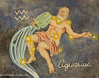 Original Aquarius Watercolor Painting Water bearer zodiac art constellation wall art 5x7 picture astrological artwork astronomy decor astro