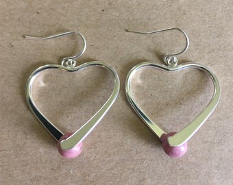 Pink Rhodonite Heart Pinch Bail Dangle Earrings